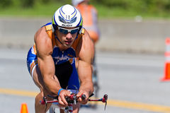 Nathan Birdsall in the Coeur d' Alene Ironman cycling event Stock Image