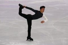 Nathan Chen do Estados Unidos executa no único programa curto de patinagem dos homens nos 2018 Jogos Olímpicos do inverno imagens de stock