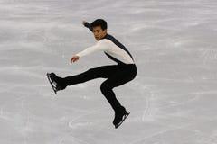 Nathan Chen van de Verenigde Staten voert bij de Mensen Enig het Schaatsen Kort Programma uit bij de 2018 de Winterolympische spe stock foto
