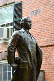 Nathan Hale Statue in Yale. Nathan Hale (a Yale Alumnus) Statue and 1750 Connecticut Hall at Yale University in New Haven, Connecticut Royalty Free Stock Image