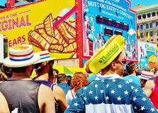 Nathan hot dog eating contest onlookers new york 2016 Royalty Free Stock Photos