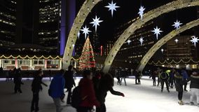 Nathan Phillips Square decorated for Christmas stock footage