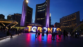 Nathan Phillips Square in Downtown Toronto at night Stock Photo