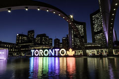 Nathan Phillips Square Night Fotografia Stock Libera da Diritti