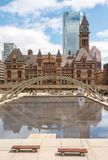 Nathan Phillips Square and Old City Hall in Toronto Royalty Free Stock Photos