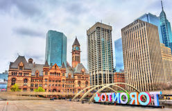 Nathan Phillips Square and Old City Hall of Toronto, Canada Stock Photos