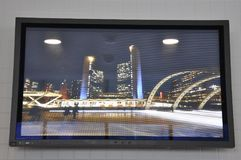 Nathan Phillips Square Picture on the wall from CN Tower interior of Toronto in Ontario Province Canada. Nathan Phillips Square by night picture on the wall from Royalty Free Stock Photo