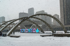 Nathan Phillips Square in Toronto stock foto