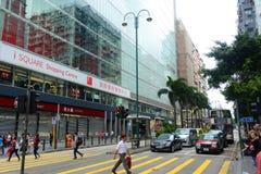 Nathan Road i Kowloon, Hong Kong Arkivbilder