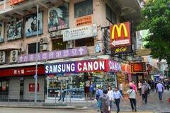 Nathan Road i Kowloon, Hong Kong Fotografering för Bildbyråer