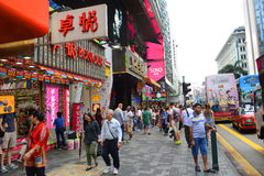 Nathan Road i Kowloon, Hong Kong Royaltyfria Bilder