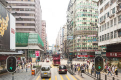 Nathan Road in Kowloon, Hong Kong stockbilder