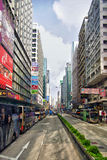 Nathan Road, Mongkok, Hong Kong. Traffic on Nathan Road. The street is a main thoroughfare through Kowloon and is line with shops and restaurants Stock Image