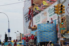 The 2015 Nathan's Famous Hot Dog Eating Contest 55. The Nathan's Hot Dog Eating Contest has been held at the original location on Coney Island every year since Stock Image