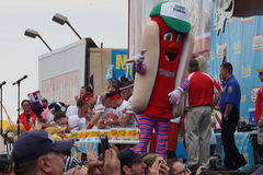 The 2015 Nathan's Famous Hot Dog Eating Contest Part 2  63. The Nathan's Hot Dog Eating Contest has been held at the original location on Coney Island every year Stock Photo