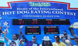 The Nathan s hot dog eating contest countdown clock at Coney Island, New York. BROOKLYN, NEW YORK - MAY 27 : The Nathan s hot dog eating contest countdown clock Royalty Free Stock Photos