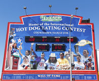 The Nathan's hot dog eating contest Wall of Fame. BROOKLYN, NEW YORK - MARCH 18: The Nathan's hot dog eating contest Wall of Fame on March 18, 2014 at Coney Royalty Free Stock Image