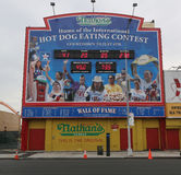 The Nathan`s hot dog eating contest Wall of Fame at Coney Island, New York. BROOKLYN, NEW YORK - MAY 23, 2017:  The Nathan`s hot dog eating contest Wall of Fame Royalty Free Stock Photography