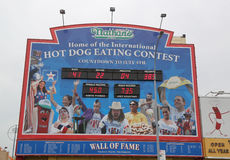 The Nathan`s hot dog eating contest Wall of Fame at Coney Island, New York. BROOKLYN, NEW YORK - MAY 23, 2017:  The Nathan`s hot dog eating contest Wall of Fame Royalty Free Stock Photo