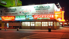 Nathan's Hot Dogs. Nathan's hotdogs since 1916 in coney island, New york City. Once renown for its five cent hot dogs, this original location now holds the Stock Photo