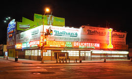 Nathan's Hot Dogs. Nathan's hotdogs since 1916 in coney island, New york City. Once renown for its five cent hot dogs, this original location now holds the Royalty Free Stock Photography