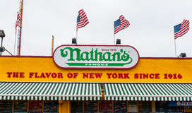 The Nathan's original restaurant at Coney Island, New York. BROOKLYN, NEW YORK - AUGUST 23 : The Nathan s original restaurant on August 23, 2013 at Coney Island Royalty Free Stock Images