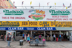 The Nathan's original restaurant at Coney Island, New York. BROOKLYN, NEW YORK - AUGUST 23 : The Nathan s original restaurant on August 23, 2013 at Coney Island Royalty Free Stock Photo