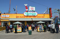 The Nathan`s original restaurant sign at Coney Island, New York Royalty Free Stock Photography