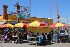 The Nathan`s original restaurant sign at Coney Island, New York Stock Image