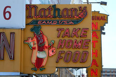 The Nathan`s original restaurant sign at Coney Island, New York Royalty Free Stock Images