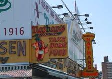 The Nathan`s original restaurant sign at Coney Island, New York Stock Photos