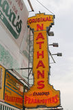 Nathan`s original restaurant sign at Coney Island, New York Stock Images