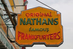 Nathan`s original restaurant sign at Coney Island, New York Royalty Free Stock Images