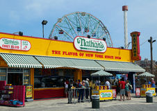 The Nathan's reopened after damage by Hurricane Sandy at Coney Island Boardwalk. BROOKLYN, NEW YORK - APRIL 9:The Nathan's reopened after damage by Hurricane royalty free stock photos