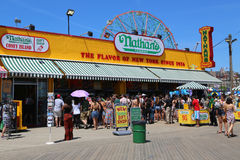 The Nathan s restaurant on boardwalk  at Coney Island, New York Royalty Free Stock Images
