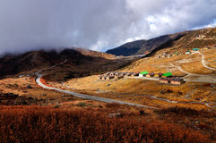 Nathang valley under clouds, Sikkim. Nathang valley under clouds, interesting play of light and shadow, Sikkim, India Stock Photo