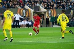 Nathaniel Clyne plays at the Europa League semifinal match between Villarreal CF and Liverpool FC stock photos