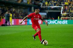 Nathaniel Clyne plays at the Europa League semifinal match between Villarreal CF and Liverpool FC stock image