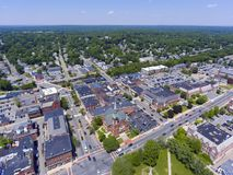 Natick downtown aerial view, Massachusetts, USA. Natick First Congregational Church, Town Hall and Common aerial view in downtown Natick, Massachusetts, USA Royalty Free Stock Photos