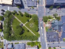 Natick downtown aerial view, Massachusetts, USA. Natick First Congregational Church, Town Hall and Common aerial view in downtown Natick, Massachusetts, USA stock image