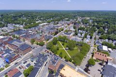 Natick downtown aerial view, Massachusetts, USA. Natick First Congregational Church, Town Hall and Common aerial view in downtown Natick, Massachusetts, USA Royalty Free Stock Image