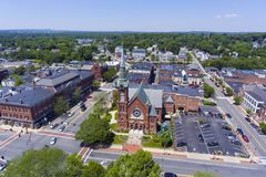 Natick downtown aerial view, Massachusetts, USA. Natick First Congregational Church, Town Hall and Common aerial view in downtown Natick, Massachusetts, USA royalty free stock images