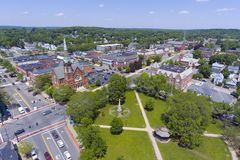 Natick downtown aerial view, Massachusetts, USA. Natick First Congregational Church, Town Hall and Common aerial view in downtown Natick, Massachusetts, USA stock images