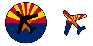 Natievlag - geïsoleerd Vliegtuig - Arizona Royalty-vrije Stock Afbeelding
