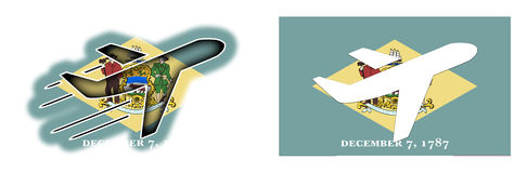 Natievlag - geïsoleerd Vliegtuig - Delaware Royalty-vrije Stock Foto's