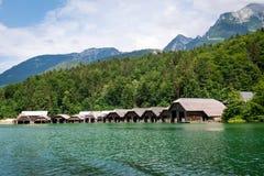Koningssee lake in German Alps. Natioanal park and fisherman houses in Koningssee, Alps stock photos