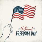 Natioanl freedom day. National Freedom Day of United States vector card. Woman hand holding USA flag with text on retro background. American freedom day banner Stock Photography
