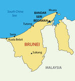 Nation of Brunei, the Abode of Peace - map - vector. Nation of Brunei, the Abode of Peace - vector map Royalty Free Stock Photo