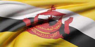 Nation of Brunei flag waving Royalty Free Stock Image
