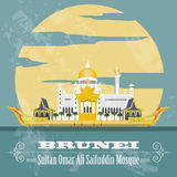 Nation of Brunei  landmarks. Retro styled image. Sultan Omar Ali Royalty Free Stock Photos